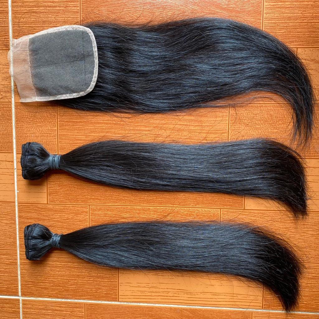 Straight natural hair samples