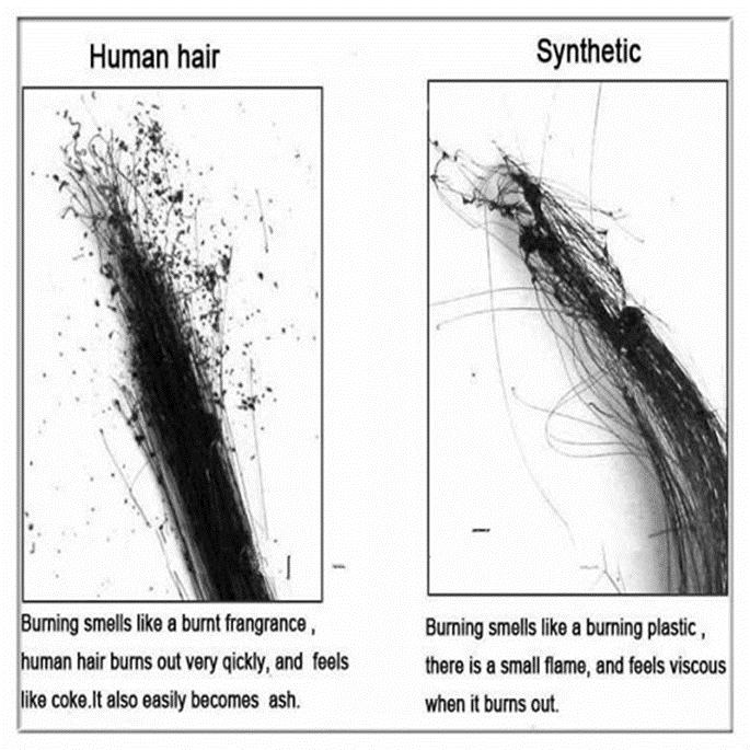 Burn-human-hair-and-synthetic-hair
