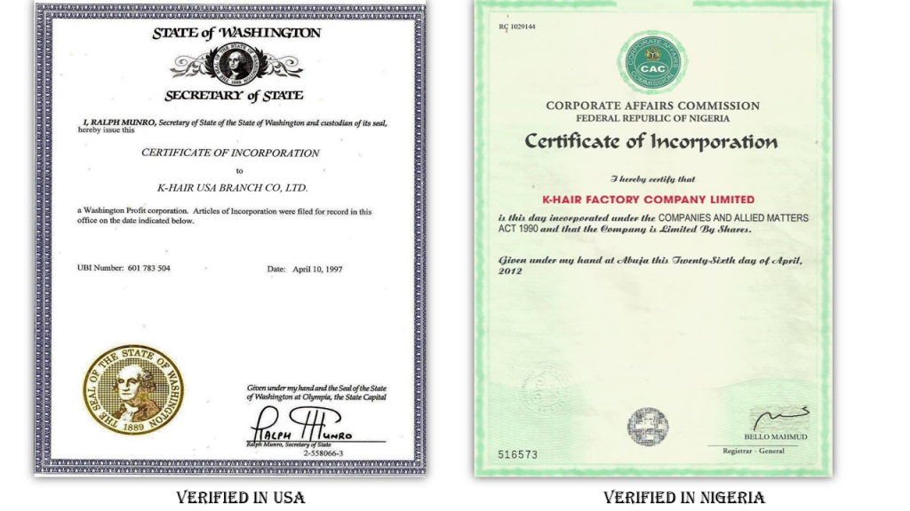 Hair factory with verified documents