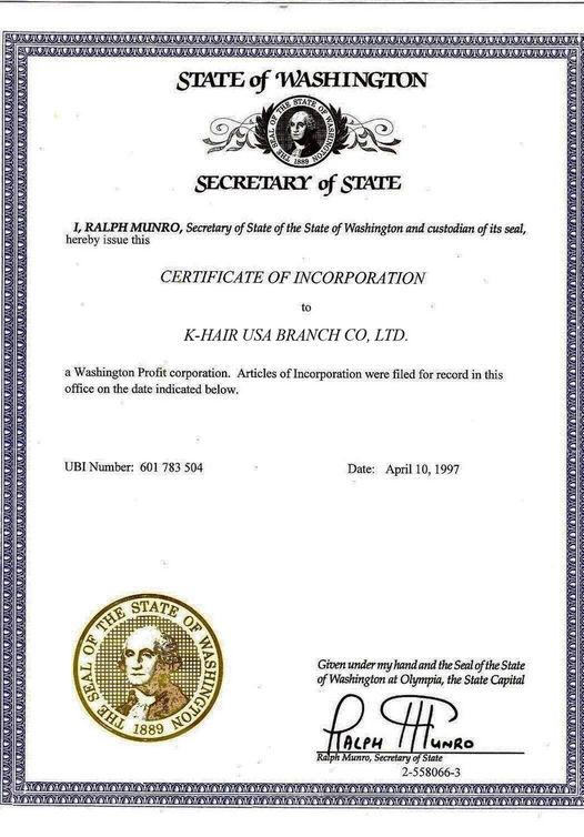 K-Hair Certificate