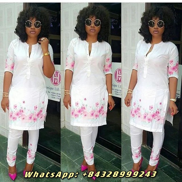 Nigerian Outfits_ Gentle White With Pink Floral Patterns