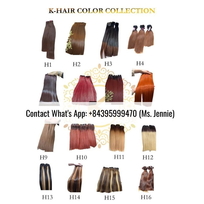 Vietnamese Single Drawn weft color hair Extension colored hair