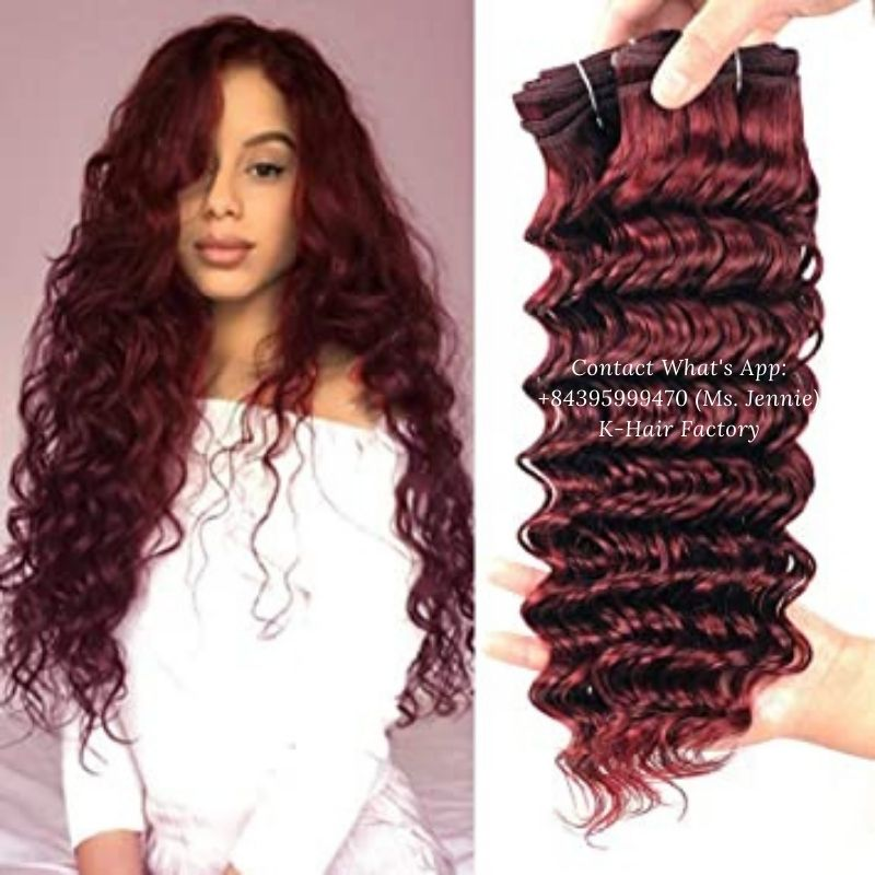 Vietnamese-Single-Drawn-weft-color-hair-Extension-colored-red-wine-deepwave