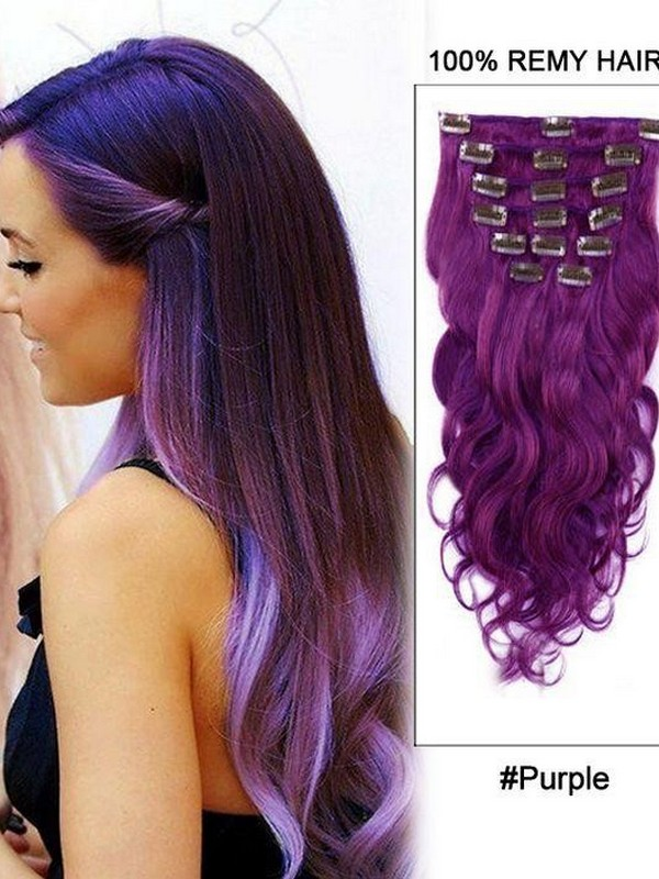 Purple. - Pretty And Stylish Hair Extension Colors.