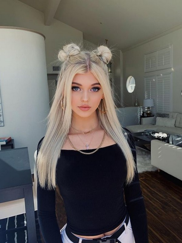Half Up Half Down Space Buns - Cool Hair Extension Styles For Straight Hair.