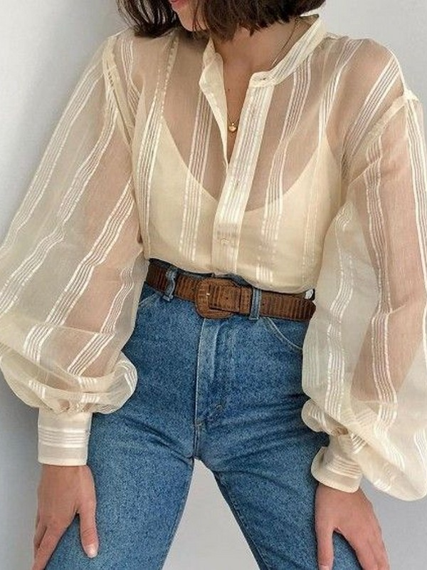 Puff-Sleeved Top And Jeans