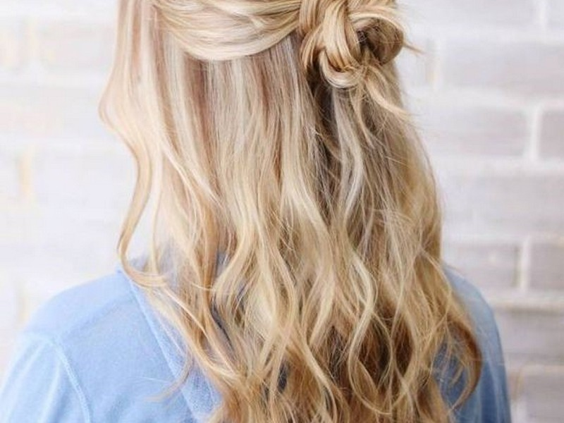 Half Updo. - Romantic Sultry Short Hair Extension Styles.