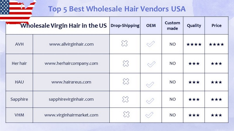 Top 5 best Wholesale Hair Vendors in the USA