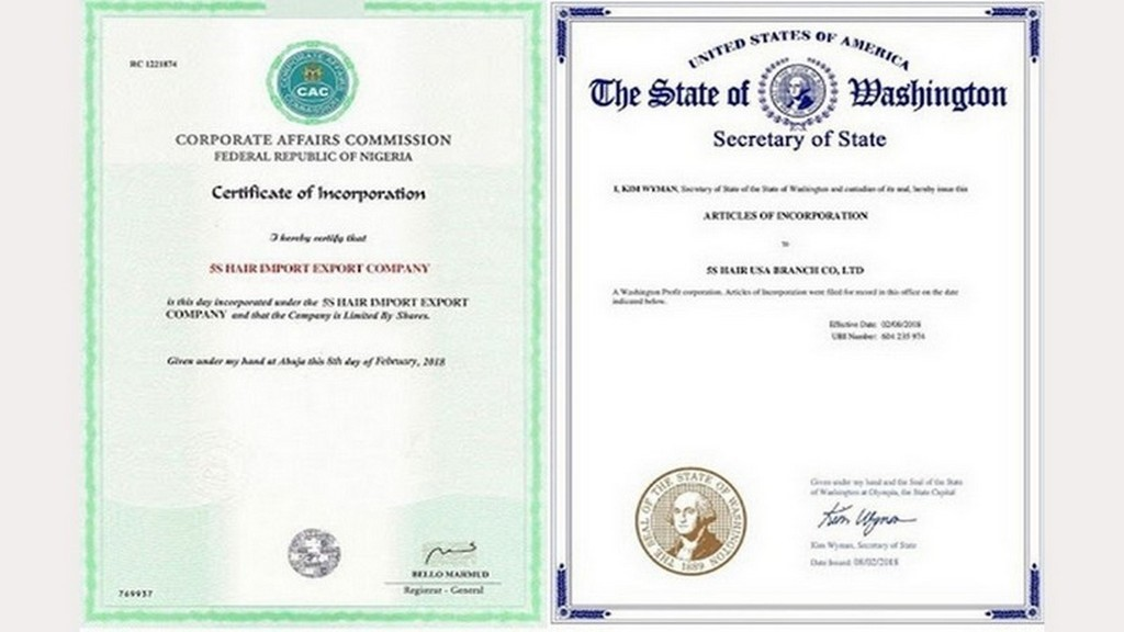 Verified company registration