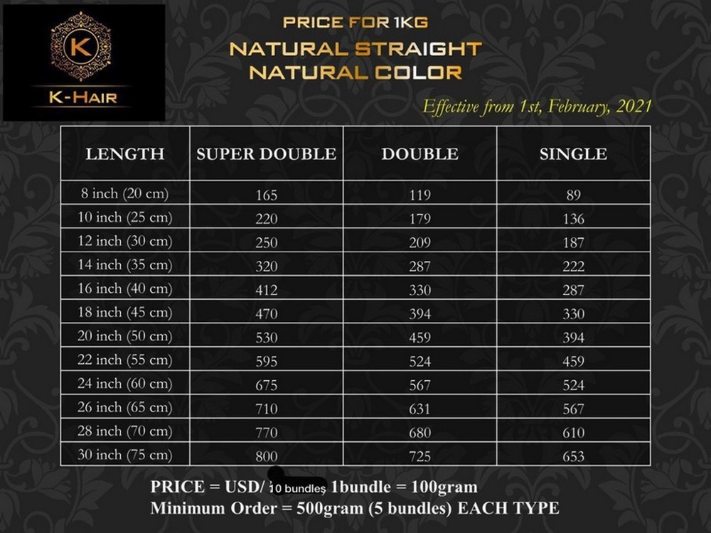 Price-list of Hair Extension in K-hair Vietnam