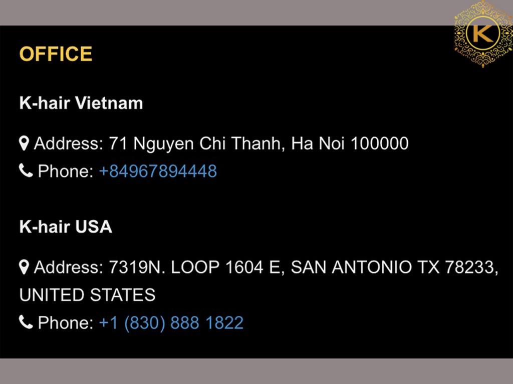 Contact of K-Hair Vietnam